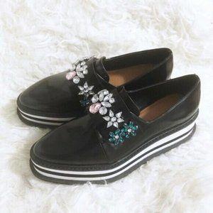 ZARA Platform emberlished derby shoes, size 36EU
